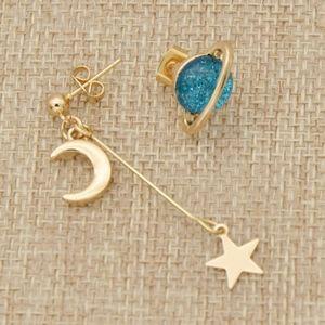 Asymmetric Planet Moon & Star Gold Stud Earrings
